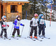 Young athletes-skiers before the start of the competition Royalty Free Stock Photos