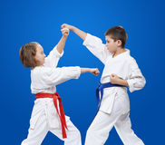 Young athletes train blocks and kicks of karate Stock Images