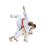 Young athletes are training judo throw Stock Images