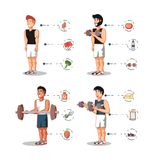 Young athletes training sport with healthy lifestyle icons. Vector illustration design Royalty Free Stock Photography