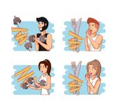 Young athletes training sport with healthy lifestyle icons. Vector illustration design Stock Photos