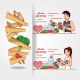 Young athletes training sport with healthy lifestyle icons. Vector illustration design Stock Images