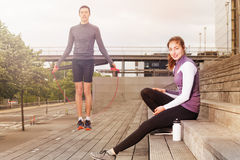 Young athletes during workout session outdoors Stock Photo