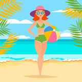 Young athletic girl with ball on the beach royalty free illustration