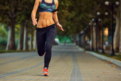 Young athletic girl runner jogging in park in  summer autumn Royalty Free Stock Image