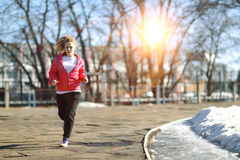 Young athletic girl on a walk Stock Photo