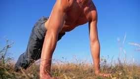 Young Athletic Man with a Bare Torso Performs Push-ups with Claps on Nature. Slow Motion. In 180 fps. Man doing calisthenics workout on the meadow. Outdoors stock video