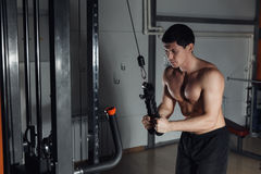 Young athletic man doing exercise for triceps on block exerciser in gym. Royalty Free Stock Photo