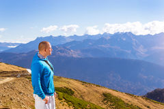 Young athletic man, mountain landscape, Sochi Royalty Free Stock Photo