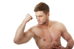 Young athletic man showing his muscles. Royalty Free Stock Photo