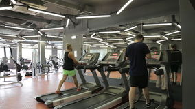 Young athletic men and women exercising and running on treadmill in sport gym. stock video