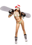 Young athletic snow maiden with snowboard Royalty Free Stock Image
