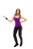 Young athletic woman doing dance moves Stock Photos