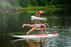 Young athletic woman doing fitness on a board with a paddle on the lake, training a healthy lifestyle.  Royalty Free Stock Photos