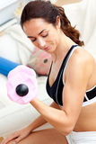 Young athletic woman holding dumbbells at home Royalty Free Stock Photo