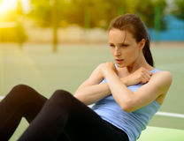 Young Athletic Woman Practice Morning Workout Exercises Outdoor Royalty Free Stock Photography