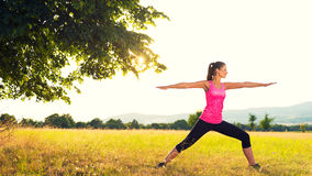 Young athletic woman practicing yoga on a meadow at sunset Royalty Free Stock Image