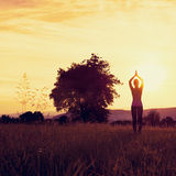 Young athletic woman practicing yoga on a meadow at sunset Stock Images