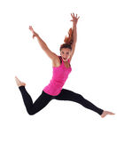 Young athletic woman run in air isolated Royalty Free Stock Image