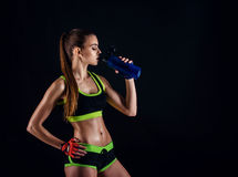 Young athletic woman in sportswear with a shaker in studio against black background. Ideal female sports figure. Stock Images