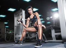 Young athletic woman working her biceps with heavy dumbbells Stock Images