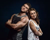 Young athlets couple in the gym Stock Photography