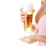 Young atractive blonde and beer Royalty Free Stock Photography