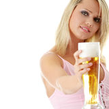 Young atractive blonde and beer Stock Photography