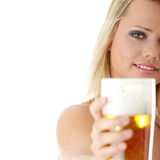 Young atractive blonde and beer Stock Photo