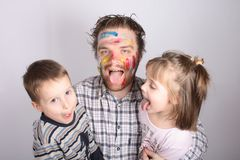 Young atrtist and his kids stock photos