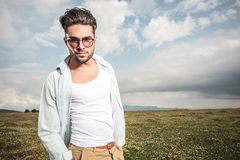 Young attactive man posing outside Royalty Free Stock Images