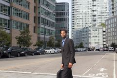 Young attractive African American man in business suits, looking. Sharp and confident, photographed in NYC in September 2017 Stock Photography