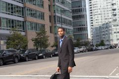 Young attractive African American man in business suits, looking. Sharp and confident, photographed in NYC in September 2017 Stock Images