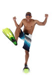 Young attractive African American man in swimsuit Stock Images