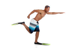 Young attractive African American man in swimsuit Royalty Free Stock Photos