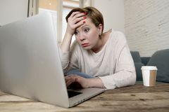 Free Young Attractive And Busy Woman At Home Sofa Couch Doing Some Laptop Computer Work In Stress Looking Worried In Entrepreneur Lifes Royalty Free Stock Photos - 112318588