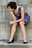 Young Attractive Asian American Woman Sitting Steps Royalty Free Stock Photography
