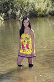 Young Attractive Asian American Woman Yellow Dress Stock Images