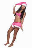 Young attractive asian pacific islander woman. In her twenties wearing pink Santa outfit royalty free stock photos