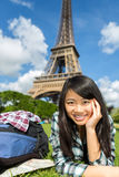 Young attractive asian tourist enjoying her Paris trip Stock Image