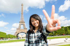 Young attractive asian tourist enjoying her Paris trip Stock Images