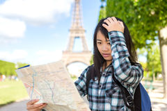 Young attractive asian tourist lost in Paris Royalty Free Stock Images