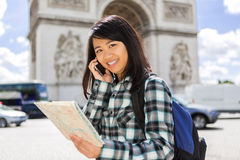 Young attractive asian tourist visiting Paris Stock Photos