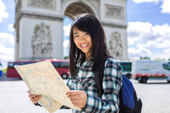 Young attractive asian tourist visiting Paris Stock Images