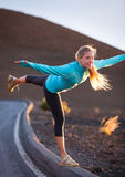 Young attractive athletic woman, wearing sporty cloths on trail, Stock Photos