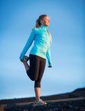 Young attractive athletic woman, wearing sporty cloths on trail, Stock Image