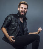 Young attractive bearded hipster man gesturing Stock Image