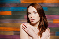 Young attractive beautiful girl with red hair Royalty Free Stock Photo