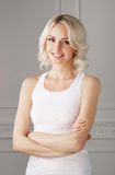 Young and attractive blond woman in casual clothes Royalty Free Stock Images