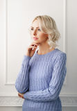 Young and attractive blond woman in casual clothes Royalty Free Stock Photo